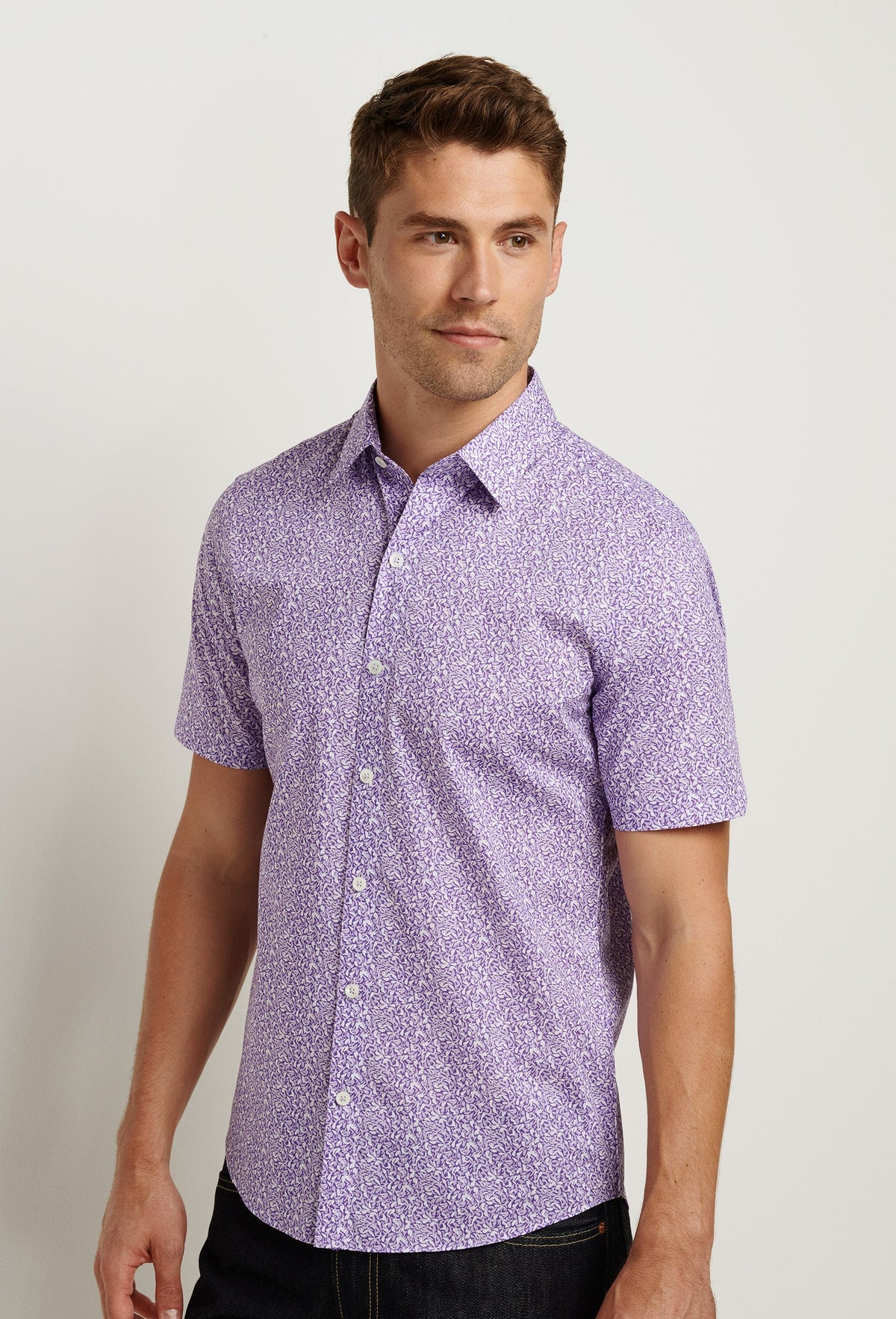 men's purple short sleeve button down. Casual dress shirt with leaf print
