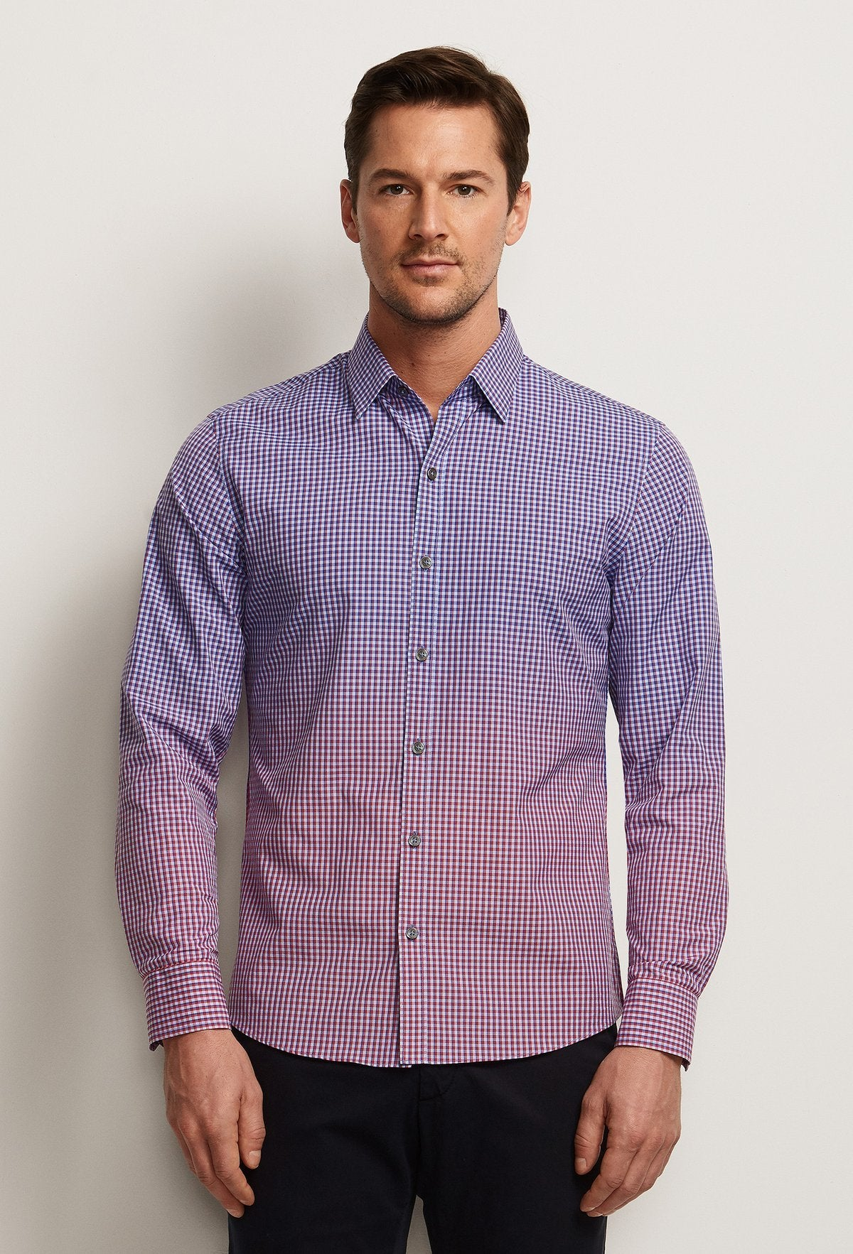 red and blue check shirt men's degrade gradient effect