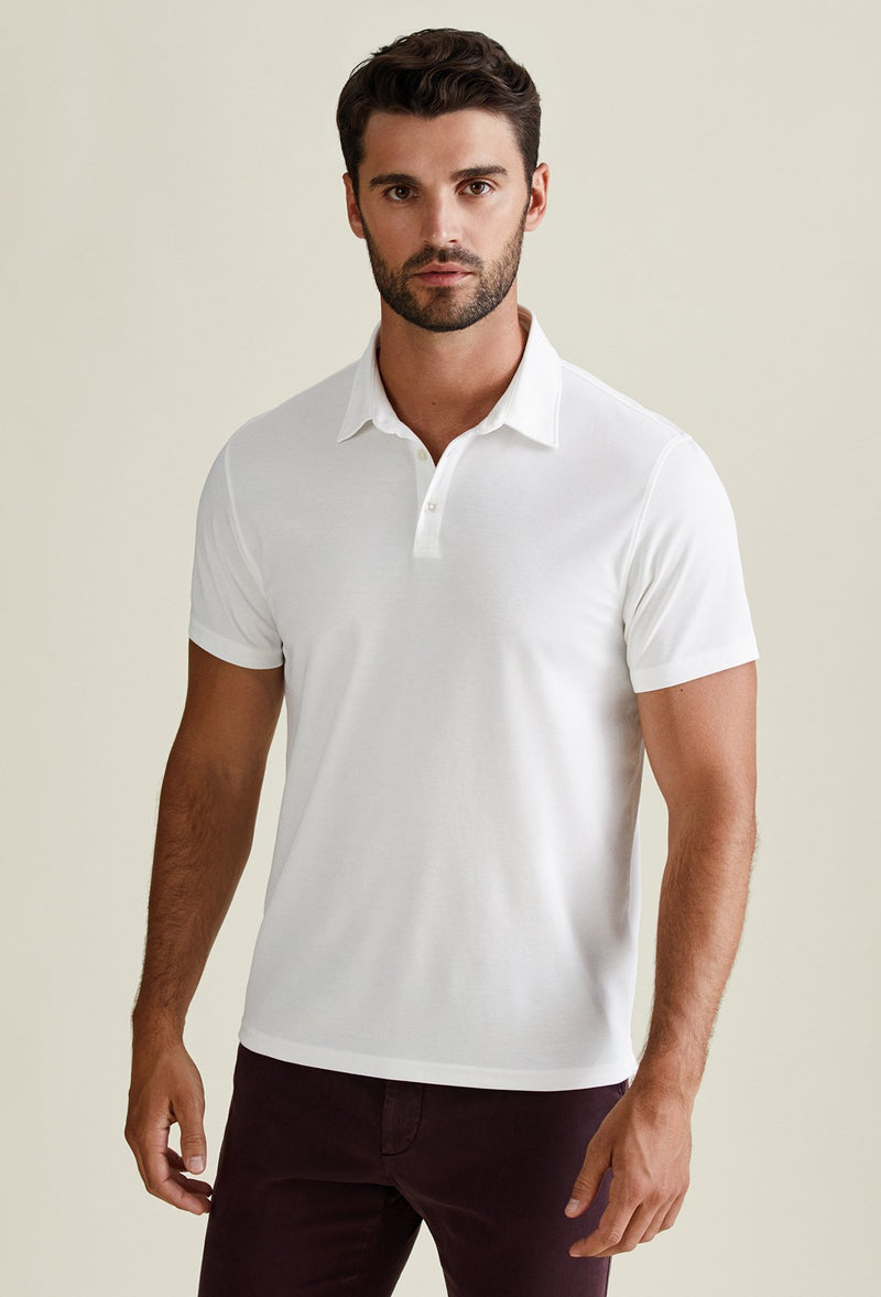 business casual men's white cotton polo shirt lightweight