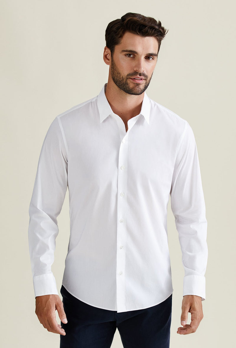 men's white long sleeve dress shirt cotton nylon blend
