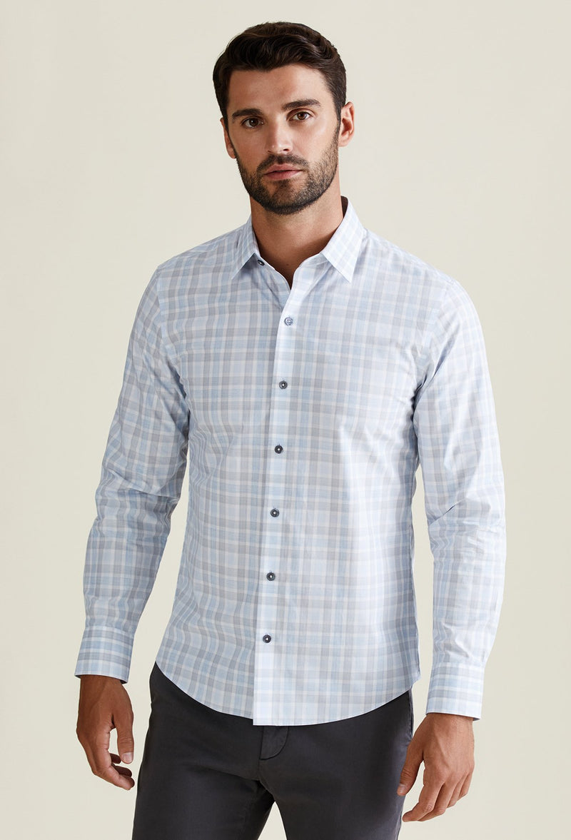 men's white plaid shirt business casual long sleeve