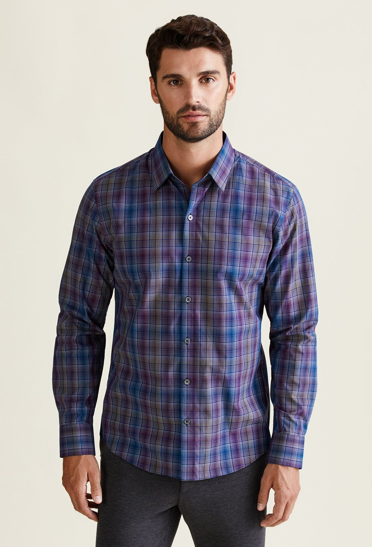 men's multicolor yellow blue and purple plaid shirt for men