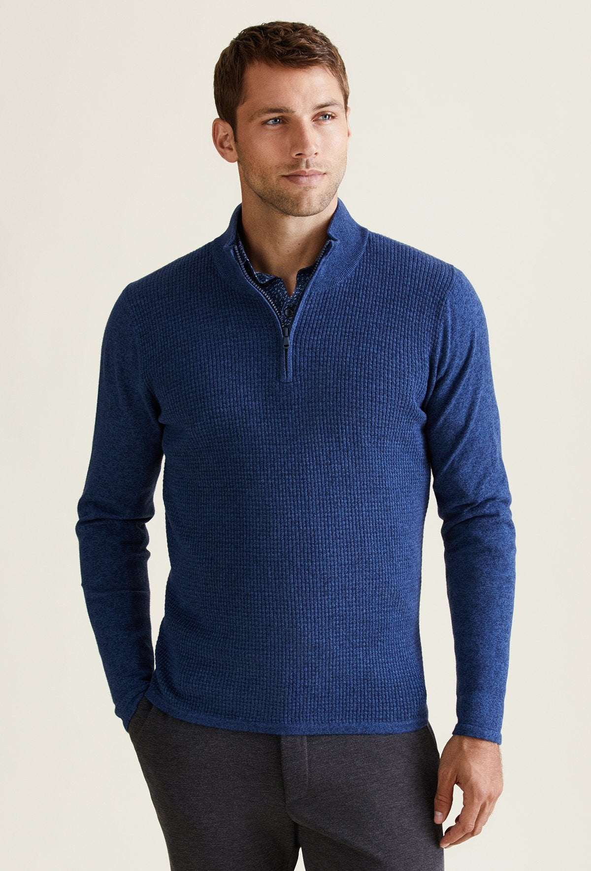 blue slim fit quarter zip sweater for men