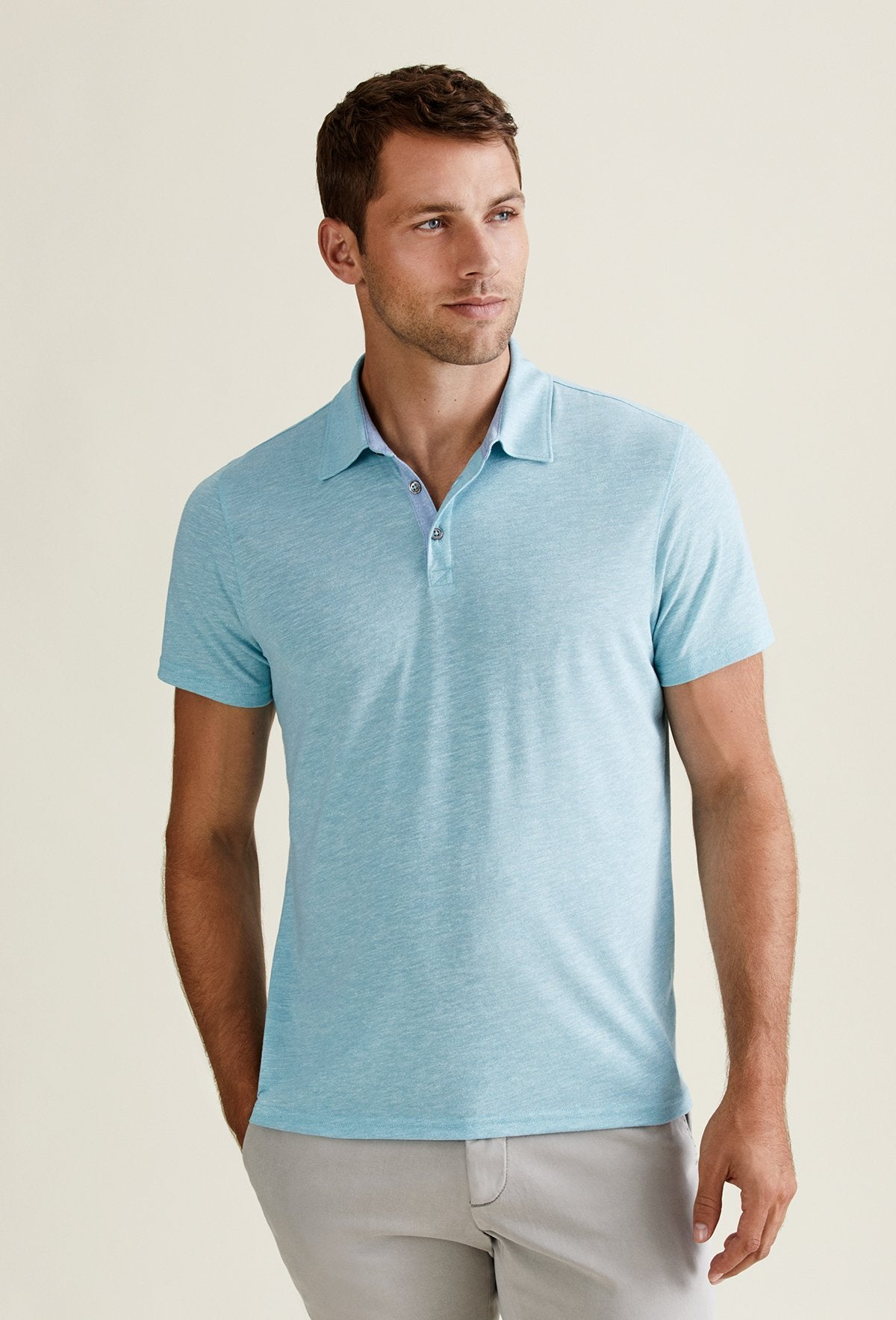 men's preppy polo shirts made from poly cotton blend. Aqua blue