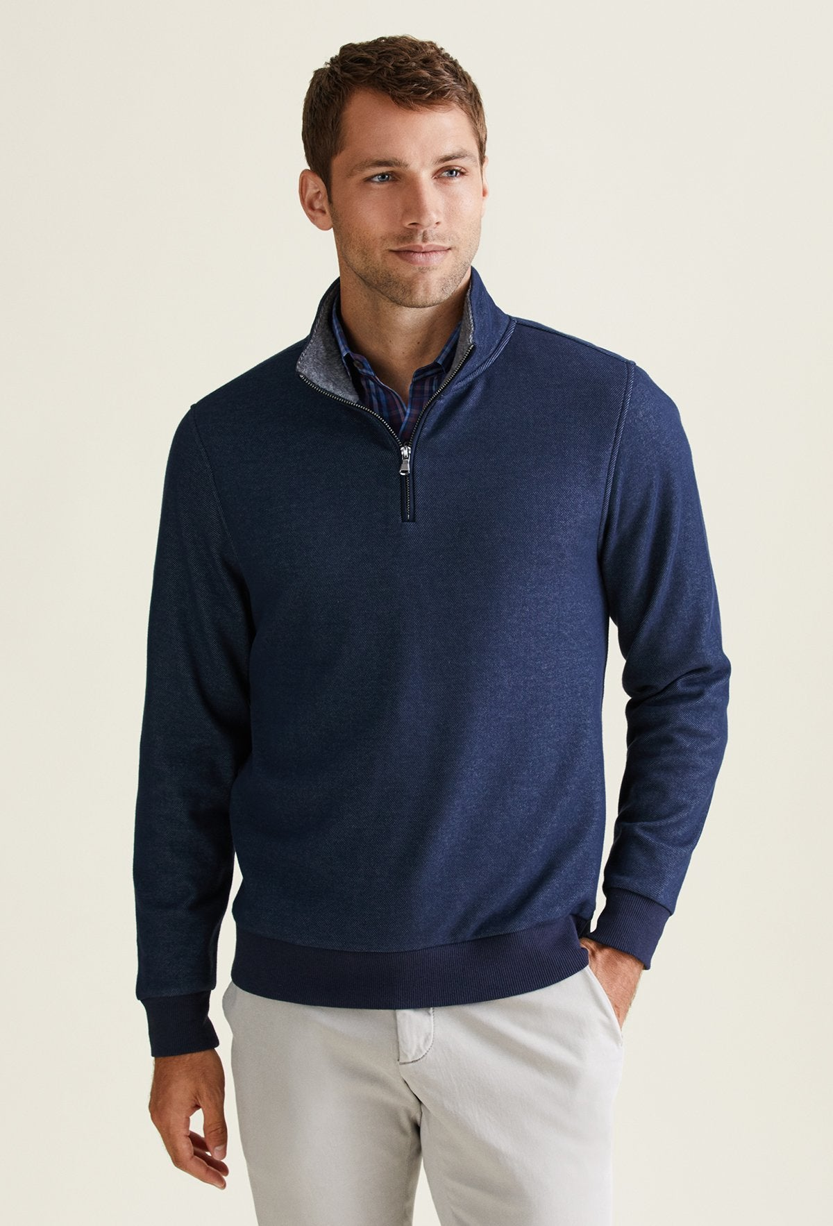 navy blue quarter zip sweater for men made from polyester, cotton and elastane