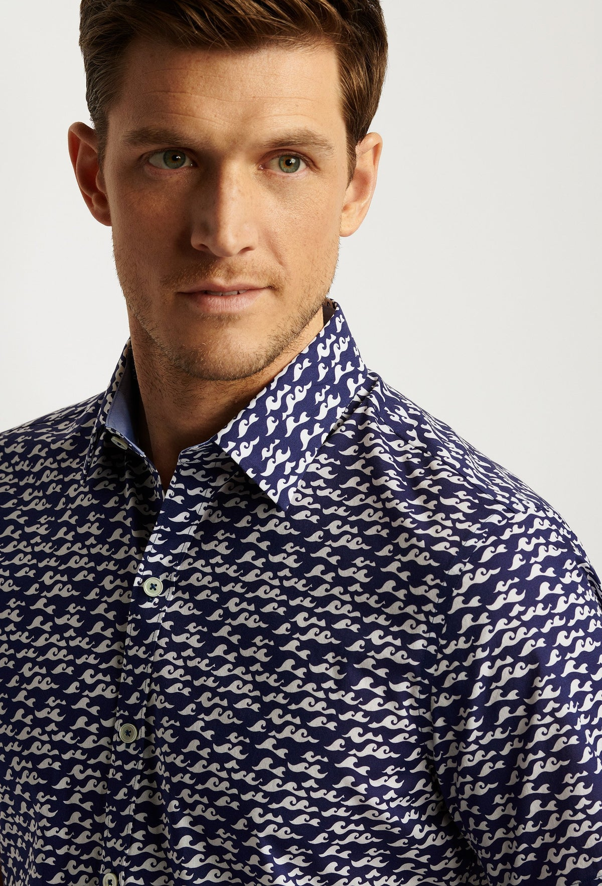 short sleeve wave print shirt for men navy blue