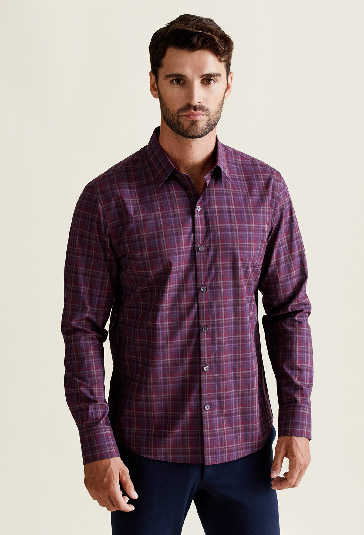wine red maroon plaid shirt for men