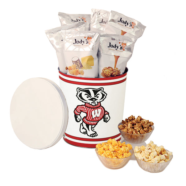 University of Wisconsin Popcorn Tin | Three Gallon Gift Tin with 8 Flavors