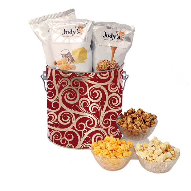 Golden Swirls 1 Gallon Popcorn Tin