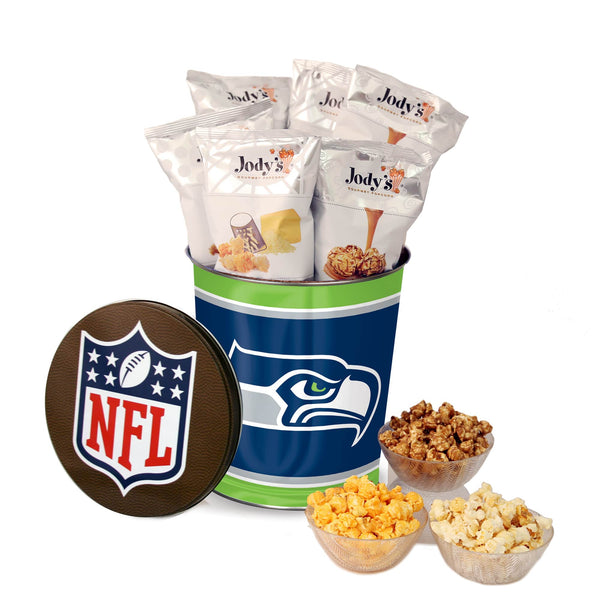 Seattle Seahawks Popcorn Tin | Three Gallon Gift Tin with 8 Flavors