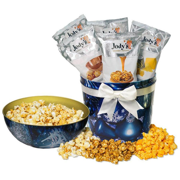 Blue Ornament Bowl Top Popcorn Tin