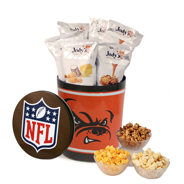 Cleveland Browns Popcorn Tin | Three Gallon Gift Tin with 8 Flavors
