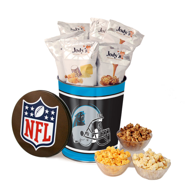 Carolina Panthers Popcorn Tin | Three Gallon Gift Tin with 8 Flavors