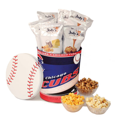 Chicago Cubs Popcorn Tin | Three Gallon Gift Tin with 6 Bags - Jody's Popcorn - 1