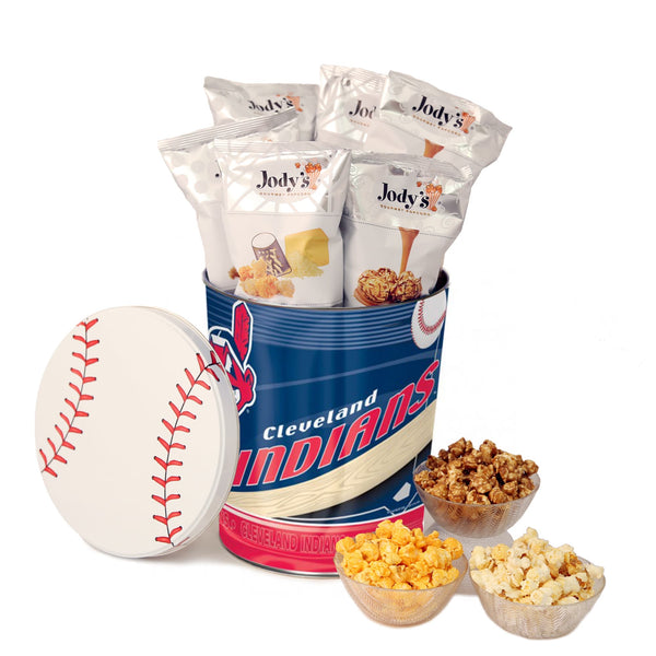 Cleveland Indians Popcorn Tin | Three Gallon Gift Tin with 8 Bags