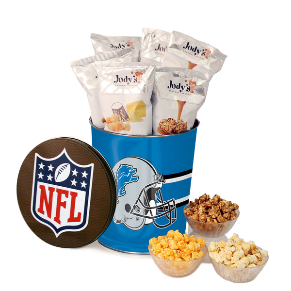 Detroit Lions Popcorn Tin | Three Gallon Gift Tin with 8 Flavors
