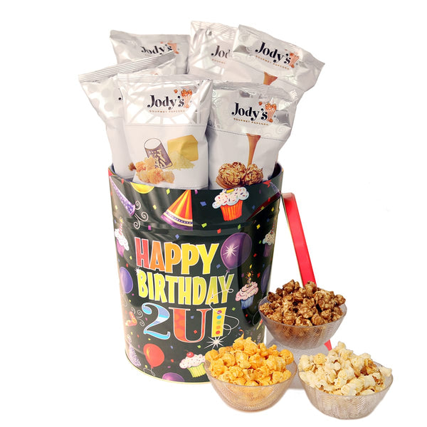 Happy Birthday Popcorn Tin | Three Gallon Gift Tin with 8 Flavors
