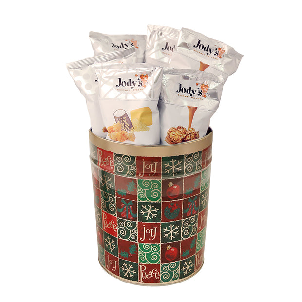 Holiday Checker 3 Gallon Popcorn Tin
