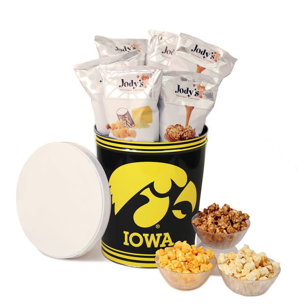 University of Iowa Hawkeyes Popcorn Tin | Three Gallon Gift Tin with Six Flavors - Jody's Popcorn