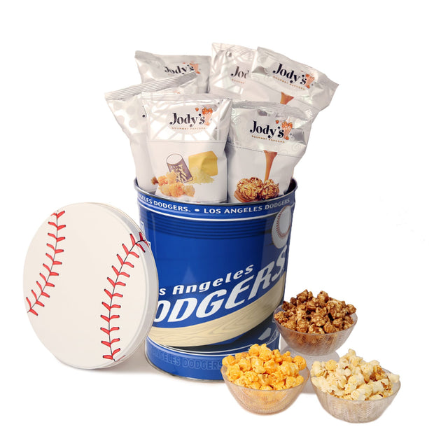 Los Angeles Dodgers  Popcorn Tin | Three Gallon Gift Tin with 6 Bags - Jody's Popcorn - 1