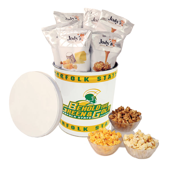 Norfolk State University Spartans Popcorn Tin | Three Gallon Gift Tin with 8 Flavors