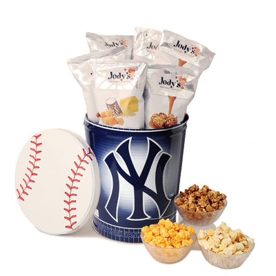 New York Yankees Popcorn Tin | Three Gallon Gift Tin with 6 Bags - Jody's Popcorn - 1