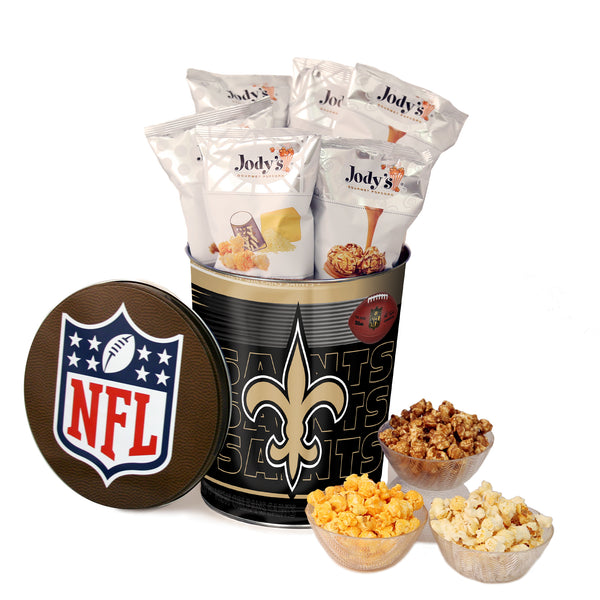 New Orleans Saints Popcorn Tin | Three Gallon Gift Tin with 8 Flavors