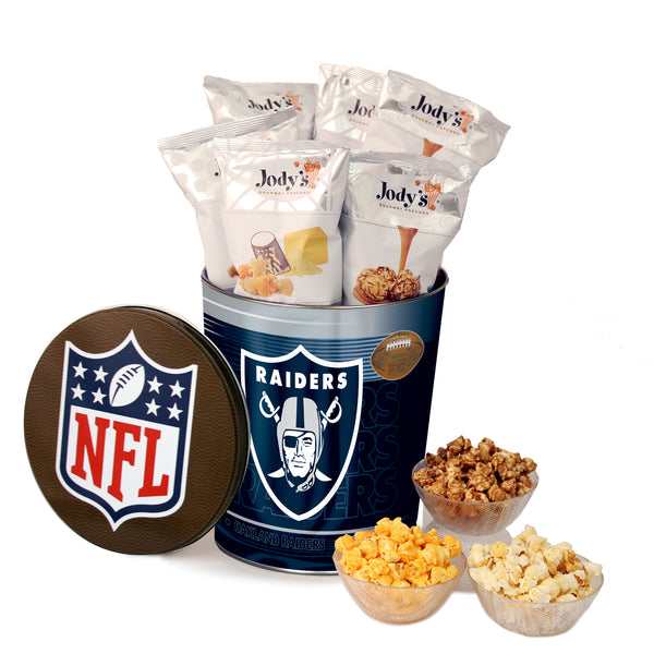 Oakland Raiders Popcorn Tin | Three Gallon Gift Tin with 8 Flavors