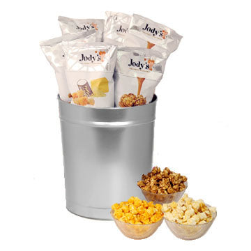 Platinum Solid Popcorn Tin | Three Gallon Gift Tin with 8 Flavors
