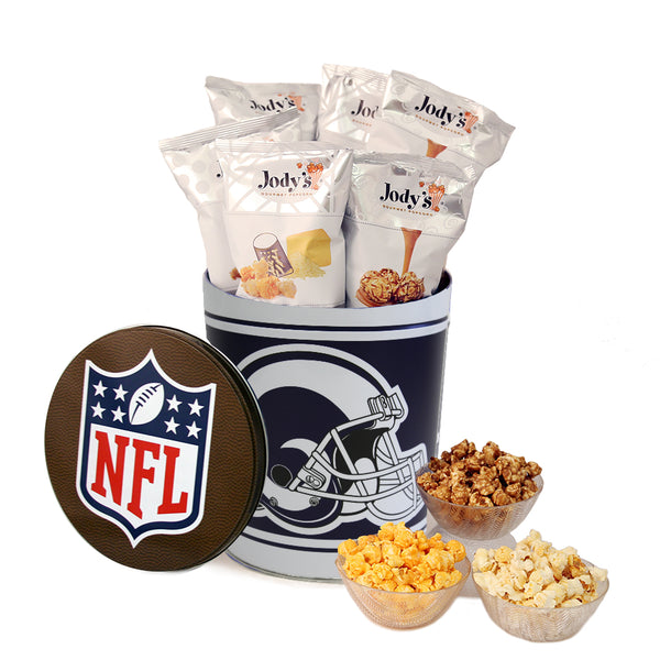 Los Angeles Rams Popcorn Tin | Three Gallon Gift Tin with 8 Flavors