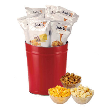 Jody's Red Popcorn Gift Tin | 3 Gallon Gift Tin with 8 Flavors