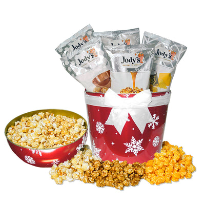 Red Snowflake Bowl Top Popcorn Tin