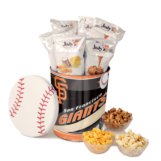 San Francisco Giants Popcorn Tin | Three Gallon Gift Tin with 6 Bags - Jody's Popcorn - 1