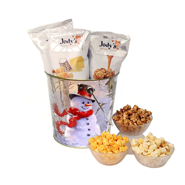 Snowman 1 Gallon Popcorn Tin