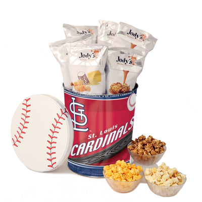 St. Louis Cardinals Popcorn Tin | Three Gallon Gift Tin with 6 Bags - Jody's Popcorn