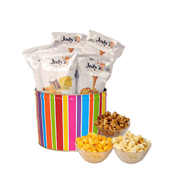 Bright Stripes 2 Gallon Popcorn Tin
