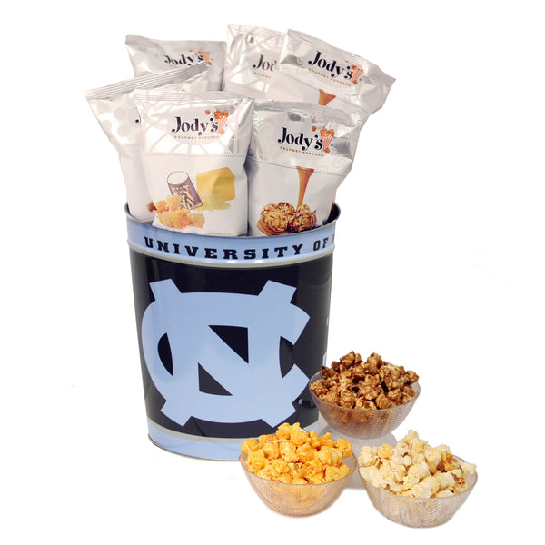 University of North Carolina Popcorn Tin | Three Gallon Gift Tin with 8 Flavors
