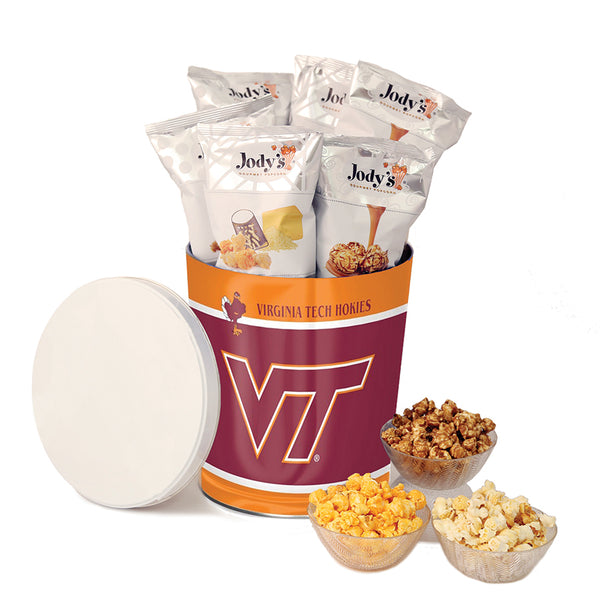 Virginia Tech Hokies Popcorn Tin | Three Gallon Gift Tin with 8 Flavors