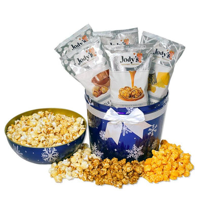 Snowflake Bowl Top Popcorn Tin
