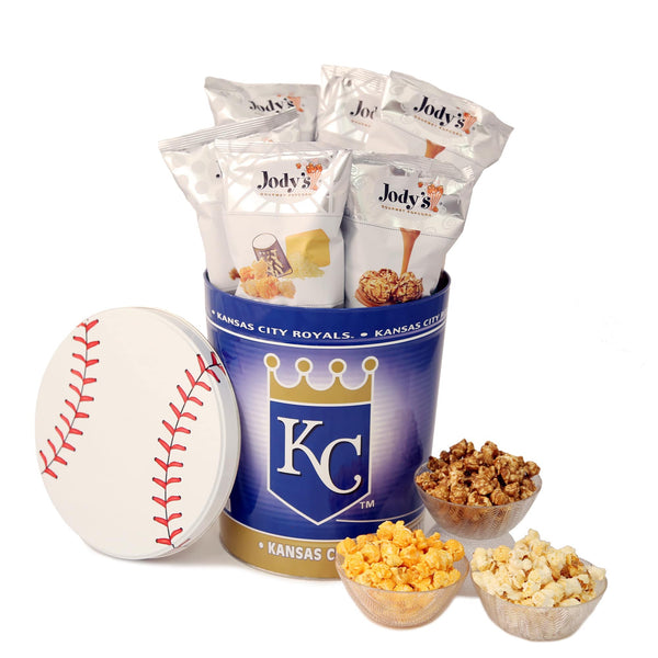 Kansas City Royals Popcorn Tin | Three Gallon Gift Tin with 6 Bags - Jody's Popcorn - 1