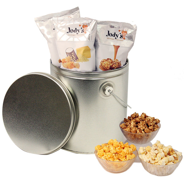 Silver Popcorn Tin | One Gallon Gift Tin with 3 Flavors