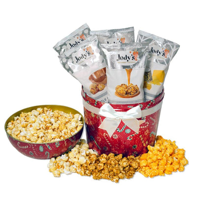 Red Candy Cane Bowl Top Popcorn Tin