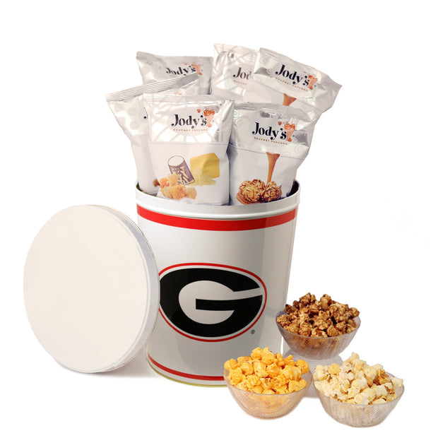 University of Georgia Popcorn Tin | Three Gallon Gift Tin with Six Flavors - Jody's Popcorn