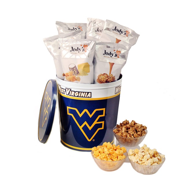 University of West Virginia Popcorn Tin | Three Gallon Gift Tin with Six Flavors - Jody's Popcorn