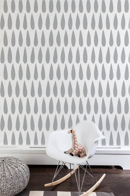 Sissy + Marley - Silver Metallic Drops Wallpaper