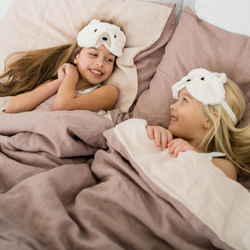 Twin duvet Cover Set 100% Linen - Rosewood + Light Pink | kids at home