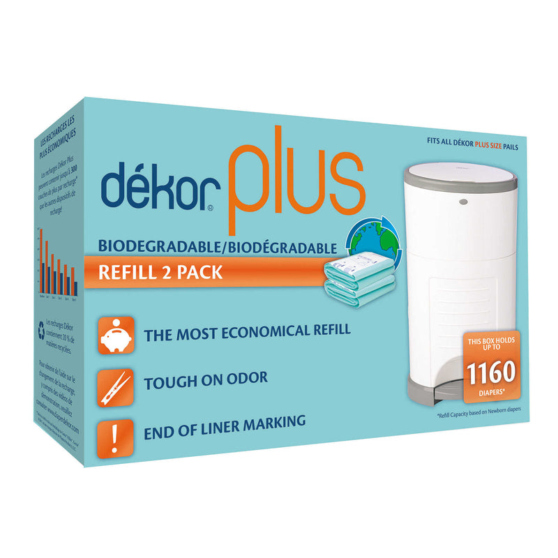 Dékor Plus Biodegradable Refill (2 Pack) Diaper Pail | kids at home