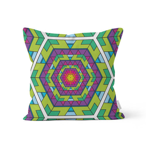 "Amy Migicovsky | Rock My Soul - ""Mandala Hex"" Throw Cushion"
