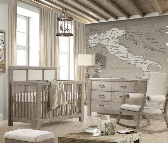 Rustico 5-in-1 Convertible Crib with Upholstered Headboard