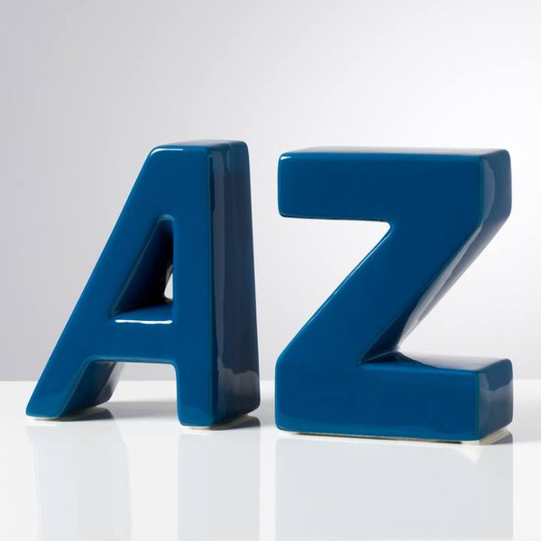 AZ Ceramic Block Bookends Set of Two - Blue